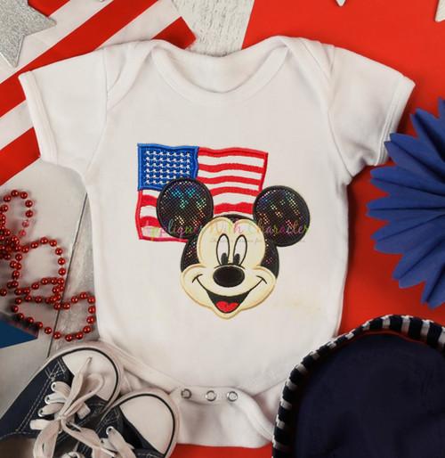 American Flag Mr Mouse  Applique Design