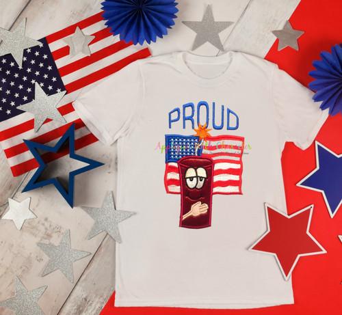 American Flag Proud Applique Design