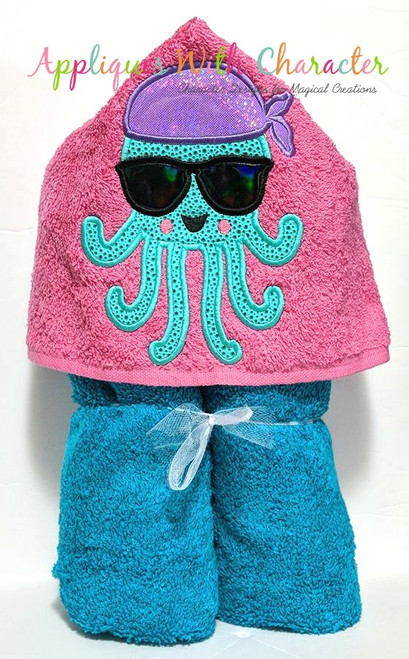 Girl Jellyfish with Sunglasses Applique Design