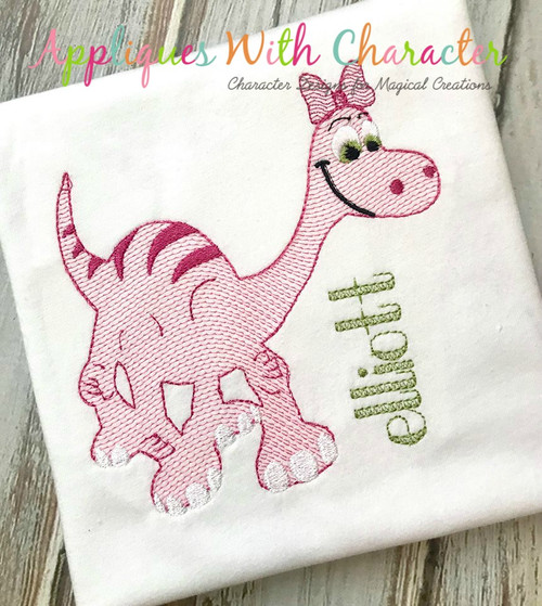 Good Dinosaur Girl Sketch Embroidery Design