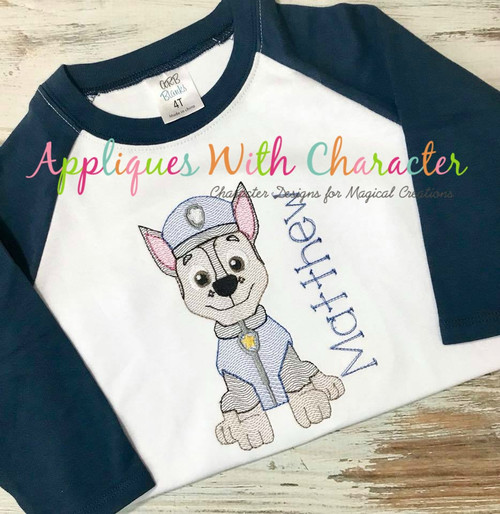Pup Patrol Chasie Sketch Embroidery Design