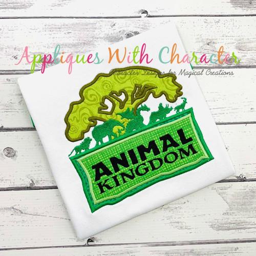 Animal Kingdom Tree Logo Applique Design