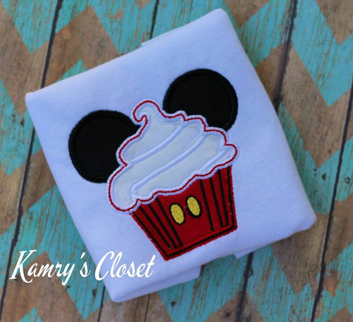 Mr Mouse Cupcake   Applique Design