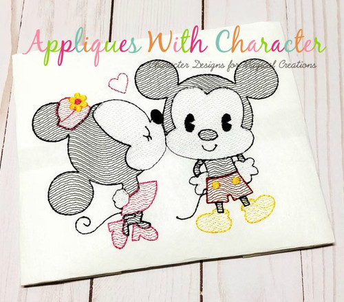 Kissing Mr Mouse & Miss Mouse Bean Stitch Design
