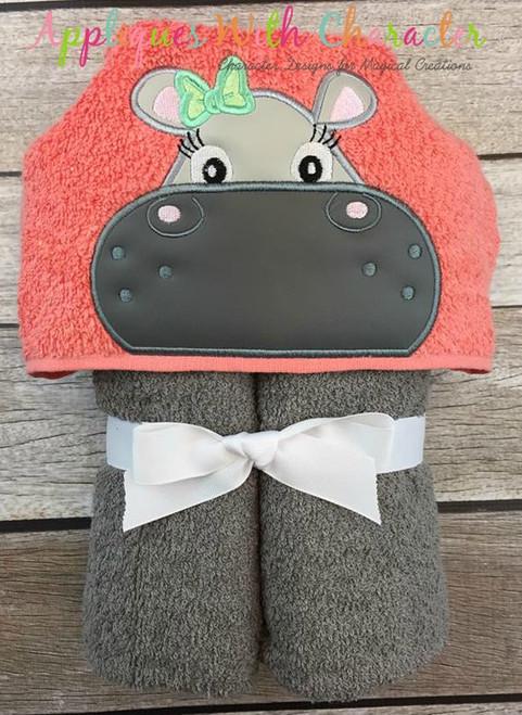 Hippo Girl with Bow Peeker Applique Design