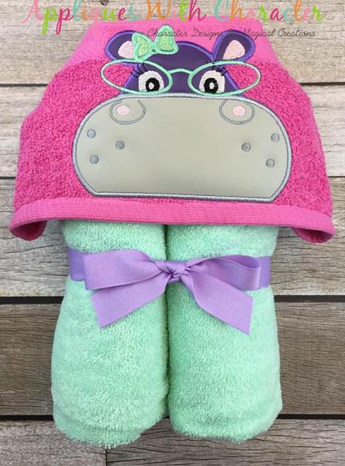 Hippo Girl with Glasses Peeker Applique Design