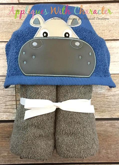 Hippo Boy Peeker Applique Design