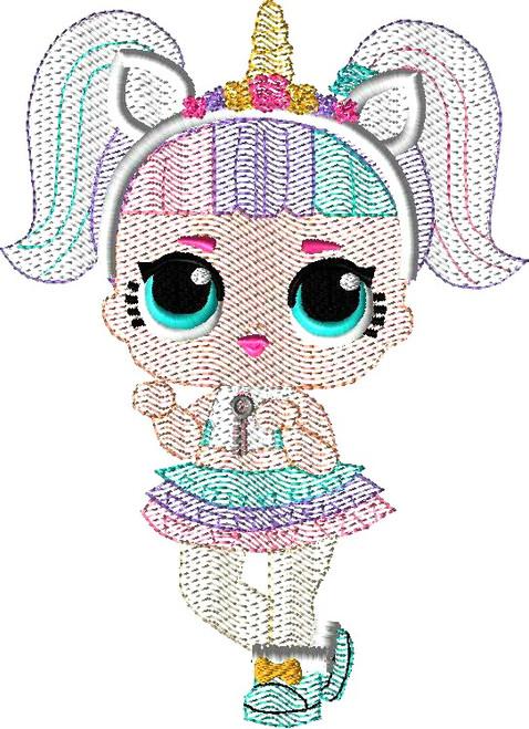 Unicorn Doll Bean Stitch Embroidery Design