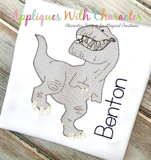 Butch Good Dinosaur T- Rex Sketch Embroidery Design