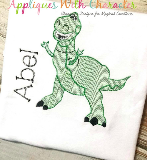Toy Story Rex Dinosaur Toy Sketch Embrodiery Design