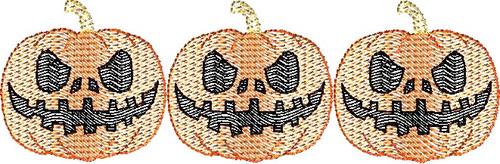 Halloween Jack-o-Lantern Pumpkin Three Bean Stitch Design