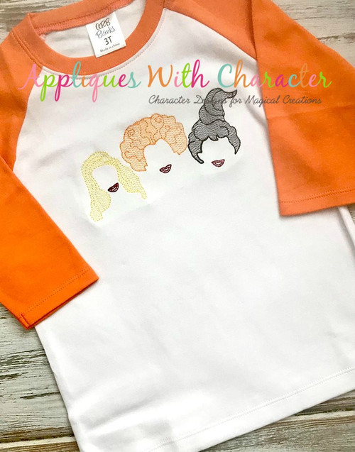 Halloween Sister Three Hocus Pocus Sketch Embroidery Design