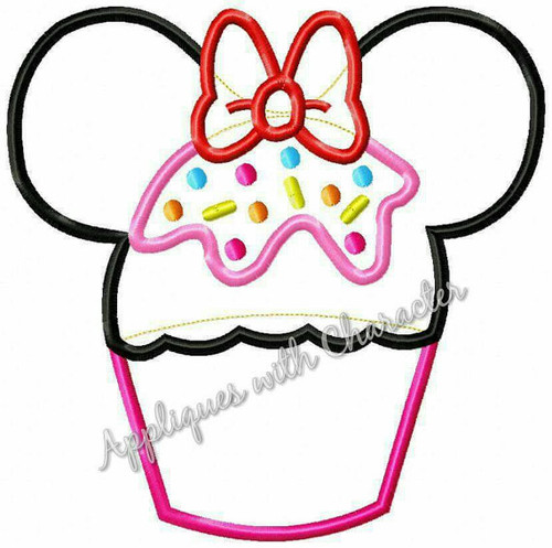 Minnie Mouse Cupcake Applique Design