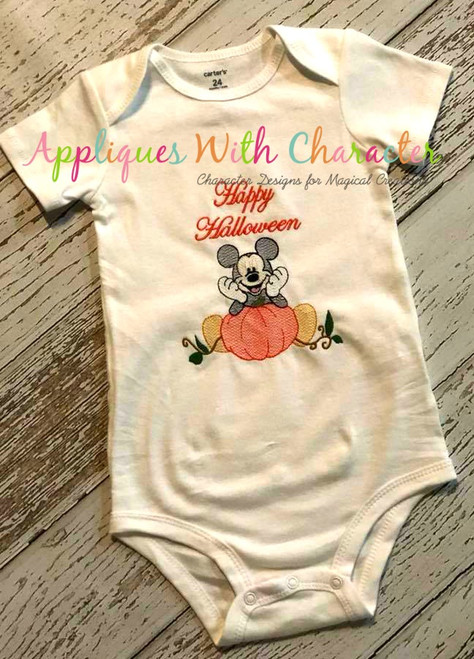 Mr Mouse with Pumpkin Sketch Embroidery Design