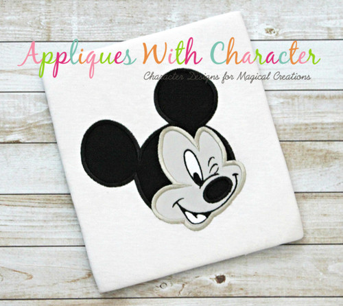 Mr Mouse Wink Face Applique Design
