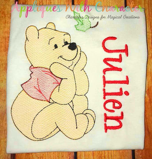 Honey Bear with Leaf Sketch Embroidery Design