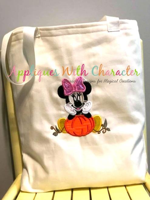 Miss Mouse with Pumpkin Applique Design
