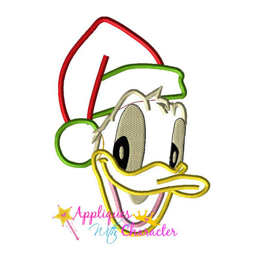 Don Duck Santa Face  Applique Design