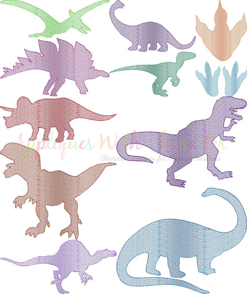 Dinosaurs Silhouette Sketch Embroidery Set