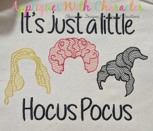 Halloween Sister Three Hocus Pocus Hair Only Sketch Embroidery Design