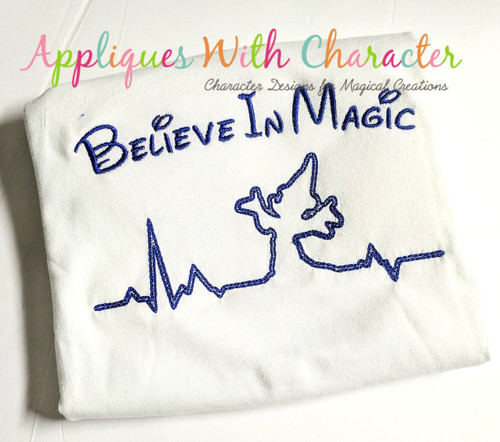 Mr. Mouse Wizard Heartbeat Sketch Embroidery Design