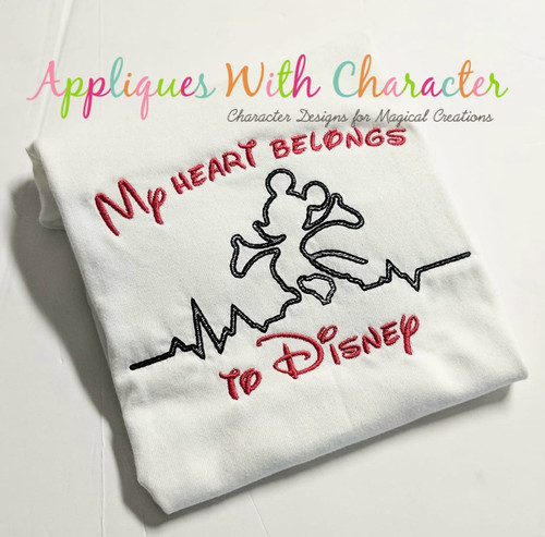 Mr. Mouse Standing Heartbeat Sketch Embroidery Design