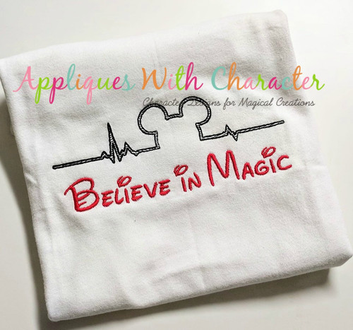 Mr. Mouse Ears Heartbeat Sketch Embroidery Design