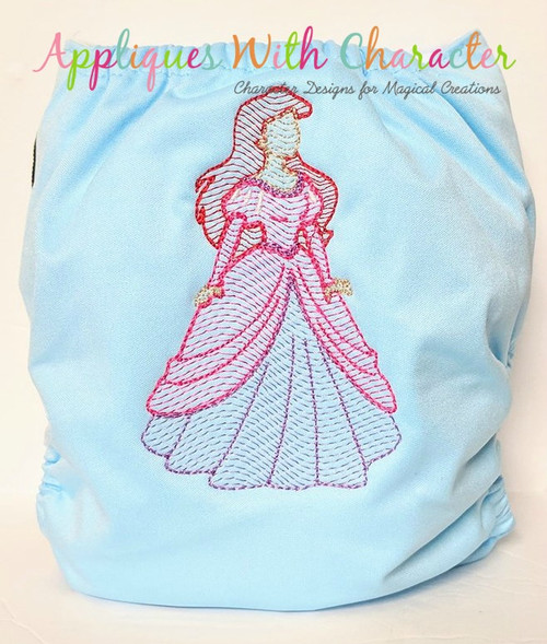 Mermaid Princess Bean Stitch Applique Design