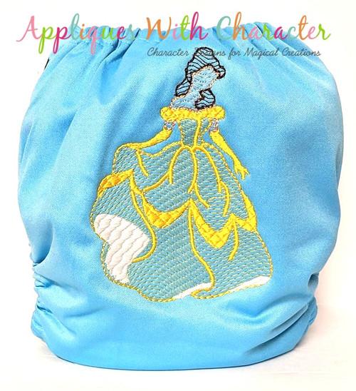 Beauty Bella Full Body Sketch Embroidery Design