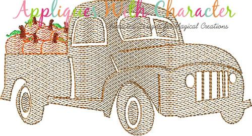 Truck with Pumpkins Bean Stitch Design