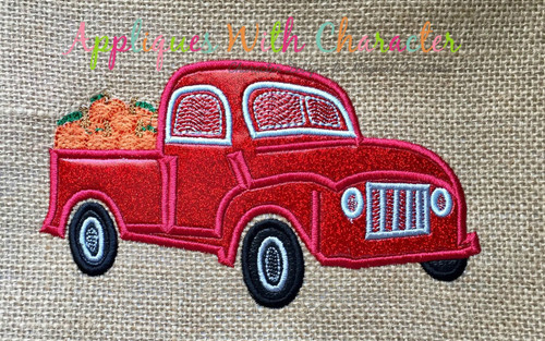 Applique Truck with Bean Stitch Pumpkins Applique Design