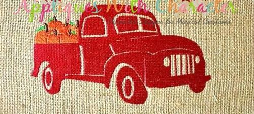 Truck with Pumpkins Filled Stitch Design
