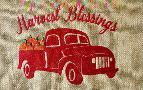Harvest Blessings Truck with Pumpkins Filled Stitch Design