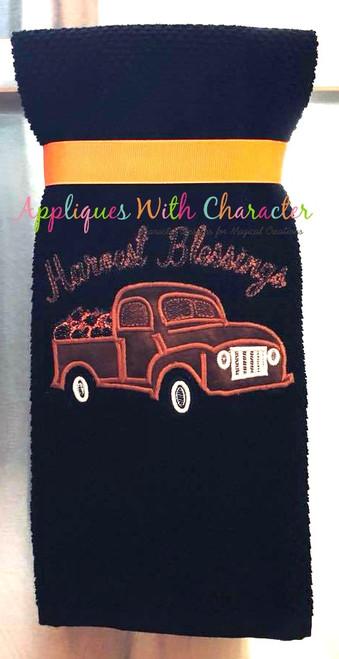 Harvest Blessings Applique Truck with Bean Stitch Pumpkins Applique Design