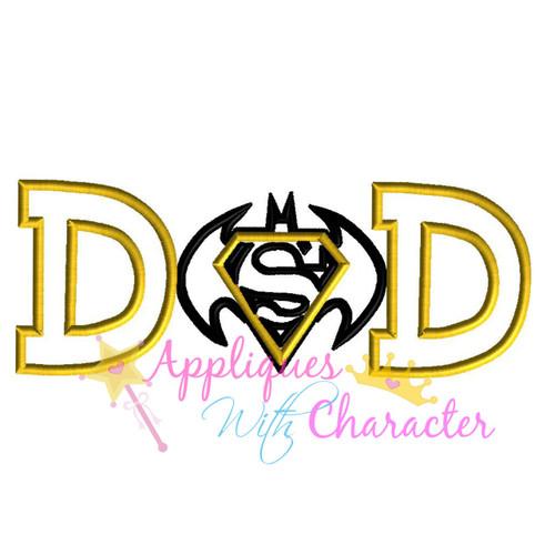Bat Hero Super Hero Dad Applique Design