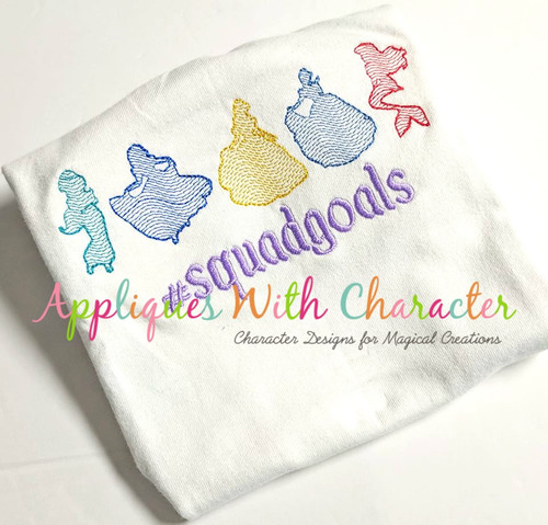 Princesses in a Row Sketch Embroidery Design