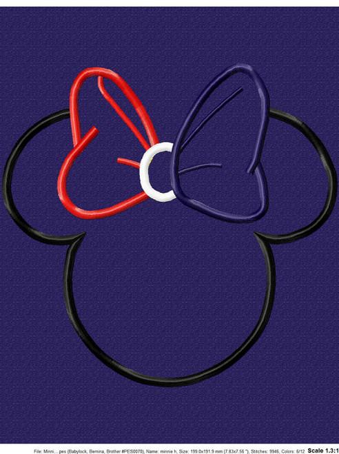 Miss Mouse Head Bow Applique Design