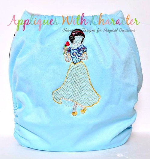 Snow Girl Full Body Sketch Embroidery Design