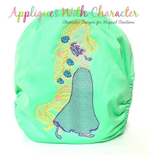 Rapunzela Full Body Embroidery Design