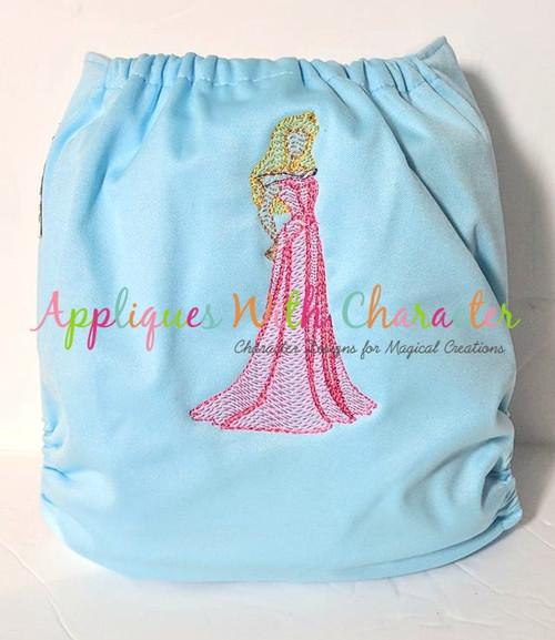 Sleeping Girl Sketch Embroidery Design
