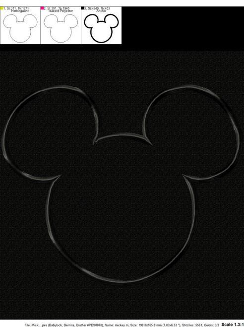 Mr Mouse Head Outline Applique Design