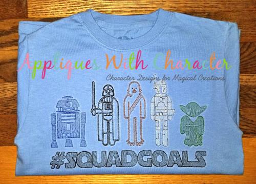 Star Battles #SQUADGOALS Sketch Embroidery Design