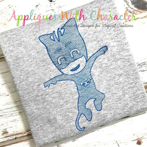 Hero Masked Catboy Bean Stitch Design