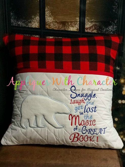 Polar Bear Reading Pillow Applique Design