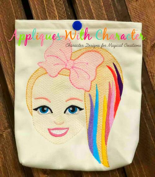 Jo Rainbow Hair Girl Sketch Embroidery Design
