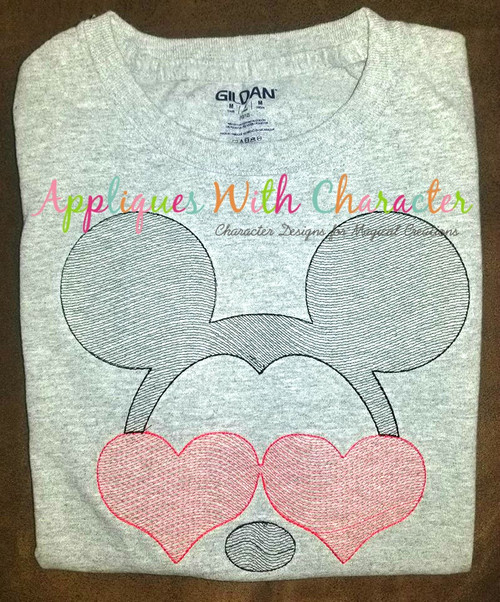 Mr. Mouse with Heart Glasses Bean Stitch Design