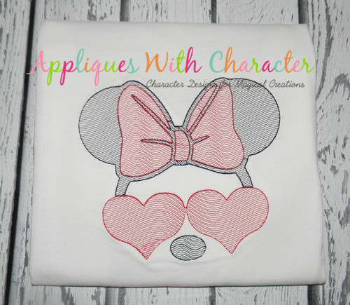 Miss Mouse with Heart Glasses Bean Stitch Design