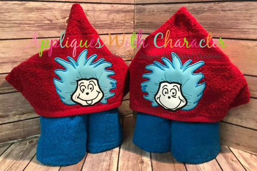 Seuss Thing 1 and Thing 2 Peeker Applique Design