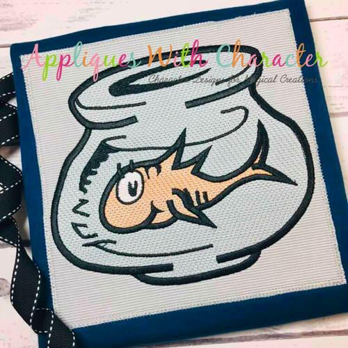 Seuss Fish In Bowl Bean Stitch Machine Design