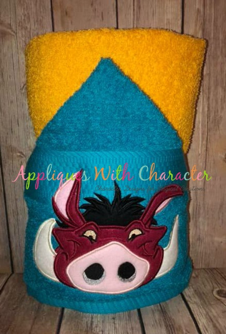 Lion Royalty Pumbaa Warthog Peeker Applique Design